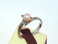 Кольцо Серебро 925, натуральный Жемчуг розовый, чернение, позолота 24 кт