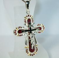 Крестик СЕРЕБРО 925 с натуральніми ГРАНАТАМИ, позолота 24кт
