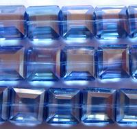 Бусина граненая квадратная (хрусталь, имитация Сваровски) 1,3 см, голубая с переливом