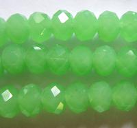 Граненая бусина 1 см (хрусталь) нежно-зеленая непрозрачная