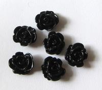 Кабошон роза 1,1 см черная